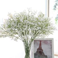 flores boda gypsophila al por mayor-58 cm rústico Artificial bebé flor de la respiración PU flor de la boda decoración para la fiesta en casa regalo de Navidad Gypsophila 21 unids