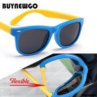 lente flexível venda por atacado-BUYNEWGO Colorido Flexível Crianças Óculos De Sol Polarizados Eyewears Crianças de Alta Qualidade Lente de Segurança Do Bebê Revestimento Espelho Shades