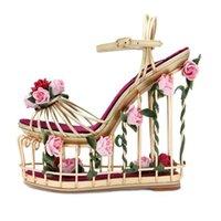 hochzeit blumen high heel großhandel-Sommer Sandalen Blume Verschönert Vogelkäfig Garten Knöchelriemen Sandalen Mode Hochzeit Kleid Schuhe Frauen Super High Heel