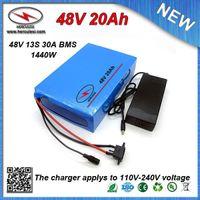 chargeurs classiques achat en gros de-Top Classic 1000W Batterie Vélo Électrique 48V 20Ah construit en 2200mah 18650 cellules 30 Amp BMS + 54.6V 2A Chargeur LIVRAISON GRATUITE