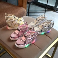 asas claras venda por atacado-Projeto europeu Dos Desenhos Animados Asa iluminado legal do bebê meninas meninos botas LED glitter moda bebê sapatilhas crianças sapatos bonitos