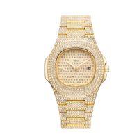reloj helado completo al por mayor-Shinning Full Diamond Nautilus Hombres Mujeres Reloj de Lujo helado hacia fuera Acero Inoxidable Corchete Movimiento de Cuarzo 41mm Hombre Mujer Mejor Regalo Reloj de pulsera