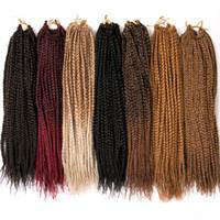 kanekalon al por mayor-Alileader Box Braid Ganchillo Trenzas Extensiones de cabello Ombre Sintético Kanekalon Trenzado de cabello para mujeres 14 18 pulgadas