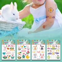 faire le lapin de pâques achat en gros de-11 * 7.5cm étanche temporaire faux oeuf de Pâques tatouage autocollants lapin lapin de bande dessinée enfants enfants art du corps composent 14 outils styles C6087