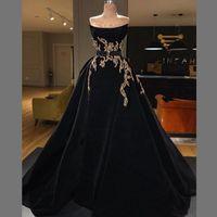 черное бархатное платье без бретелек оптовых-Скромные черные платья для особых случаев Вечерняя одежда Бархатное платье для выпускного вечера без бретелек Длинные кружевные аппликации по индивидуальному заказу Бальные платья Vestidos