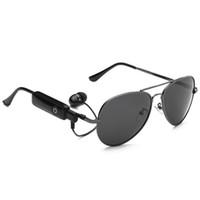 pc için bluetooth kulaklıklar toptan satış-Akıllı gözlükler kablosuz Bluetooth güneş gözlüğü spor kulaklıklar MP3 çalar Bluetooth cep telefonu kablosuz kulaklık Bluetooth gözlük HD lensler