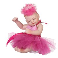 Wholesale realistic full silicone baby dolls resale online - 10inch Full Silicone Realistic Reborn Sleeping Baby Girl Doll Model Kids Educational Toy