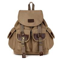 рюкзак холст военные путешествия походы оптовых-Урожай мужской рюкзак холст пу походные пары путешествия военная сумка школьная сумка