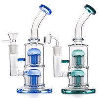 Wholesale 18.8mm glass bong perc resale online - Thick Glass Bong Dab Oil Rig quot Double Arms Tree Perc Water Pipe with mm joint Recycler Bubbler Glass Pipe