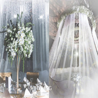 stoff voile vorhänge großhandel-2019 Curtain Schnee Tüll Organza Rolle schieren Stoff für Hochzeit Arch Kulisse Schärpen Hochzeitsdekoration voile