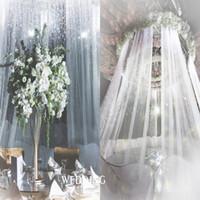 organza hintergrund großhandel-2019 Vorhang Schnee Tüll Organza Rolle Voile schiere Stoff für Hochzeit Arch Backdrop Schärpen Hochzeit Dekoration