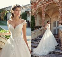 Wholesale pink wedding dresses shoulder for sale - Group buy Bohemia Luxury Arabic Dubai Applique Wedding Dress Bridal Gown Elegant Off Shoulder V Neck Tulle Lace Beach Style Wedding Dresses BC1185