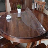 tela blanca transparente al por mayor-Mantel de PVC Mantel Mantel transparente a prueba de agua patrón de la decoración del hogar de cocina Aceite de cristal Mantel de tela suave 1.0mm