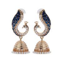 indischen pfau schmuck großhandel-2019 Retro indische Kundan Peacock Jhumki Ohrringe Gypsy Schmuck