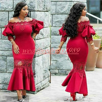 Wholesale back models for sale - Stunning Poet Lace Evening Dresses Mermaid Tea Length Satin Special Occasion Arabic Plus Size Party Formal Pageant Gowns Prom Dress
