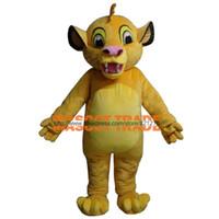 trajes de anime personalizados venda por atacado-Masoct Lion King Simba Traje Da Mascote Costume Fantasia Traje Anime Kits para o evento da festa de Halloween