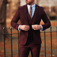 damadın ustalığı toptan satış-Bordo erkek Vintage Takım Elbise 3 Parça Yün Eğlence Düğün Smokin Custom Made Erkek Örgün Parti İş Damatlar Suit (ceketler + Yelekler + Pantolon)