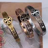 beliebtesten armbänder großhandel-2019 beliebteste marke 316 Titan Stahl 18 Karat rose gold silber 3 farben liebesbrief hochzeitsband armreif für männer frauen
