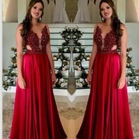 Wholesale long silk blue prom dresses resale online - Charming Prom Dresses Lace Appliques Beaded Formal Long Evening Gowns Sexy Sheer Neck A Line Party Gowns