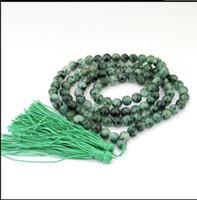 mala perlen halsketten großhandel-Halskette HOT 8mm Tibet Buddhist 108 Jade Gebetskette Mala Halskette