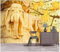 Wholesale modern elephant decor for sale - Group buy WDBH d photo wallpaper custom mural Chinese embossed golden elephant maple leaf background Home decor living room wallpaper for walls d