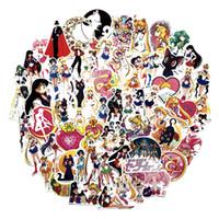 sailor moon pvc al por mayor-75 Unids / set Clásicos Anime Sailor Moon Pegatina Para Coche Laptop Skateboard Bicicleta Impermeable PVC Agua hielo luna pegatinas