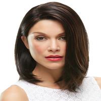 siyah beyaz karışık peruk toptan satış-2019 sıcak satış yüksek yoğunluklu orta kısa düz sentetik karışımı kahverengi peruk beyaz / siyah kadınlar