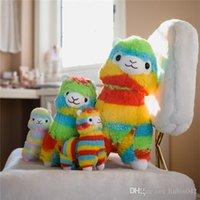 ingrosso regali arcobaleno per i bambini-20170611 Lovely Rainbow Alpaca giocattoli di peluche Morbido peluche di pecora Lama farcito Regali di giocattoli per bambini e bambine
