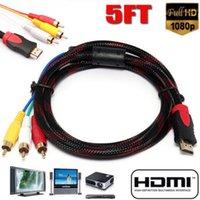 dreieck kopfhörer groihandel-1.5M HDMI-Stecker auf 3RCA Stecker Verlängerungskabel 5Ft HDMI 3RCA Video Audio AV-Komponenten-Konverter-Adapter-Kabel Kabel HDTV 20A08