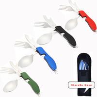 cuchillos de campo tenedor cuchara al por mayor-4 en 1 vajilla para exteriores (tenedor / cuchara / cuchillo / abrebotellas) Kits de bolsillo plegables de acero inoxidable para acampar para viajes de supervivencia