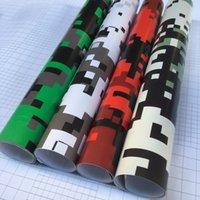 araba film baskısı toptan satış-4colors Dijital Kamuflaj Baskılı Vinil Paketleme Motosiklet Scooter Sticker Wrap Araba DIY Şekillendirme Kamuflaj Film Levha 50cm