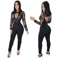 cristais pretos para roupas venda por atacado-2019 Oco Out Cristais Pretos Macacão Sexy Boate Bar Dança Desgaste Bodysuit Leggings Comemorar Roupas Outfit Desempenho