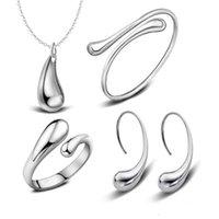 wassertropfen armband großhandel-925 Silber Überzogene Wassertropfen Armreifen Armband Halskette Ringe Ohrringe Sets Hochzeit Brautschmuck Sets Für Frauen Weihnachtsgeschenk