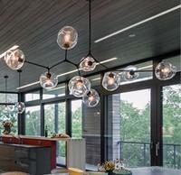 novos lustres modernos venda por atacado-EMS New Globe Vidro Lustres luzes Nordic Modern Chandelier Iluminação Pendente Lâmpada de vidro Lâmpada Bola de 110v-220v