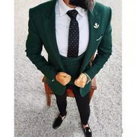 Wholesale light suit dark vest for sale - Group buy Brand New Dark Green Groom Tuxedos Peak Lapel Mens Wedding Tuxedos Fashion Man Jacket Blazer Piece Suit Jacket Pants Vest Tie