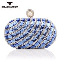 Wholesale blue handbag golden chain resale online - Bling Bling Diamonds Evening Party Clutch Bag Women Oval Pearl Hasp Elegant Ladies Handbag Fashion Chain Shoulder Bags Golden