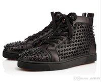 zarif beyaz düğün ayakkabıları toptan satış-2017 Şık Erkek Ayakkabı Kırmızı Alt Sneaker Lüks Parti Düğün Ayakkabı, Gerçek Deri Louisfalt Dikenler Dantel-up Günlük Ayakkabılar Siyah Beyaz