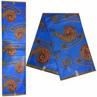 ingrosso stampa di cera di java-Tessuto africano Ankara Java Wax Fashion Woman Dress, vero tessuto africano stampa cera per indumento 100% cotone 6 iarde! DF-4562