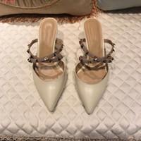 zapatillas gastadas al por mayor-Puntas de remache de primavera con baotou femenino delgado ropa exterior Zapatillas frías Pico femenino tendencia de la moda estadounidense