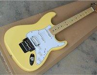 ingrosso illuminazione scalloped-Chitarra elettrica giallo chiaro personalizzata di fabbrica con Floyd Rose, tastiera in acero smerlato, battipenna bianco, modificabile