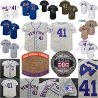 ingrosso bottoni per uomini-Tom Seaver Jersey Hall Of Fame New York Cooperstown Mets 1969 World Series WS Jerseys Uomo Donna Youth Pullover Button Home Away Tutti cuciti