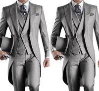 gri ustura stilleri toptan satış-2019 Sabah Stil Erkekler Düğün Takım Elbise Gri Bir Düğme Erkek Suits Damat Groomsmen 3 Parça Damat Smokin Suits (ceket + Yelek + Pantolon)
