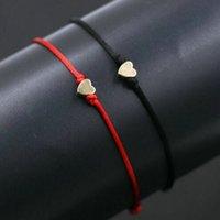 seil armbänder diy großhandel-50 teile / los Kupfer Liebe Herzform charme Armbänder Seil Glücklich Rotes Armband Für Frauen Rote Schnur Justierbares Handgemachtes Armband DIY