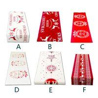 tischdecken tischwäsche großhandel-6 Stil Weihnachten Leinen Tischdecke Weihnachtsfahne Home Party Dekorative Elch Tapisserie Rote Tischläufer Abdeckungen