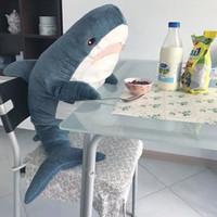 große weiche spielwaren verkauf großhandel-100 cm Heißer Verkauf Große Größe Lustige Weiche Biss Shark Plüschtier Stofftier Schlafkissen Kissen Beschwichtigen Kissen Geschenk Für Kinder MX190723