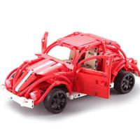 işık böcekleri toptan satış-Cada Technic Yarışı Araba Klasik Beetle Yapı Taşları Yaratıcı Montaj LED Işık Blokları Otomobil Çocuklar Blok Oyuncak C51016 C61016