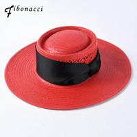 yeni his moda toptan satış-Moda 2019 Yeni Marka Kalite Klasik Yay Kadınlar Için Büyük Brim Güneş Şapka Yaz Domuz Pie Geniş Brim Straw Plaj Şapka Hissettim