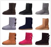 Les nouvelles bottes designer femmes Australie fille bottes de neige de luxe classique Bowtie cheville demi arc botte hiver fourrure noire Chatain