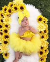 Wholesale hair bow weave for sale - Group buy Summer Baby skirt outfit set with big bow Hair Band and Tube Top Short Gauze Skirt kids solid yellow color Girl designer skirt Set