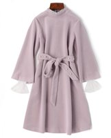 Wholesale mink skirts for sale - fashion women skirts office lady A line dresses with belt Imitated mink wool stand collar women clothing come with packaging